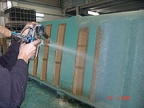 Industrial line to produce swimming-pools in sprayed polyester with reinforced fibreglass