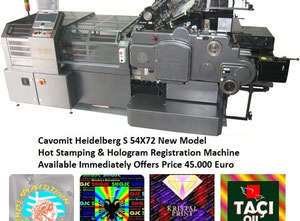 54X72 S HEIDELBERG New Model Cavomit Holo@Cylinder Electronic hot stamping & hologram registration machine. Available Immediately Special Offer to this machine