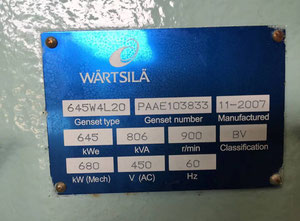 Wartsila W4L20 Generator