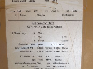 4 set Generator CAT each unit 1775 KVA with Synchronizing Panel