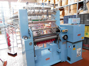 Double needle bed electronic warp knitting machine Comez model DNB/EL 800  y.o.c. 2010