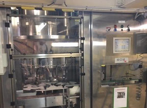 Automatic filler-screwer for plastic or glass vial/can for powder or granulate. Operating direction: right to left MOM RP 8