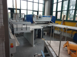 Used Wohlenberg 155 Paper guillotine with Baumann loading and unloading