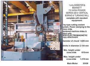 "Webster And Bennet WEBSTER AND BENNET 72"" Table type boring machine"