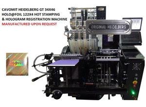 CAVOMIT HEIDELBERG GT 34X46 HOLO@FOIL-122X4 FOUR FOIL PULLS HOT STAMPING & HOLOGRAM REGISTRATION MACHINE (NEW MODEL) (MANUFACTURED_UPON_REQUEST)