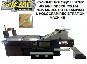 73X104 CAVOMIT JOHANNISBERG HOLO@CYLINDER TWO FOIL PULLS HOT STAMPING & HOLOGRAM REGISTRATION MACHINE (NEW MODEL 2020) (AVAILABLE_IMMEDIATELY)