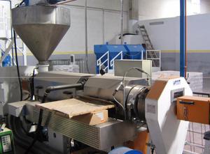 Dvoušnekový extruder INDUSTRIE GENERALI 2x120 mm. co-rotating